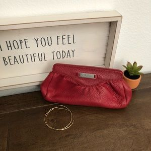 Authentic all red leather Cole Haan clutch 🌺